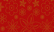 seamless floral pattern with golden paisley flowers - 232409151