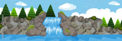 A beautiful waterfall landscape