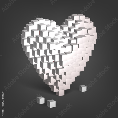 White heart from cubes, valentine's day, love