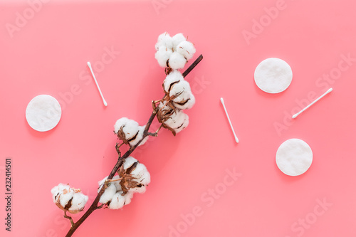 Bath accessories. Products for remove cosmetics. Cotton swabs and cotton pads near dry cotton flowers on pink background top view - 232414501