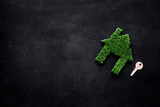 Green eco energy concept. House silhouette made of green grass on black background top view copy space - 232414715