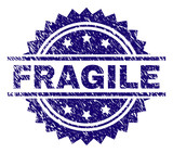 FRAGILE stamp seal watermark with distress style. Blue vector rubber print of FRAGILE title with unclean texture. - 232417932