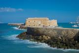Heraklion, Crete - 09 28 2018: In the city of Heraklion. Venetian port and the fortress  Venetian, Kastro Koules