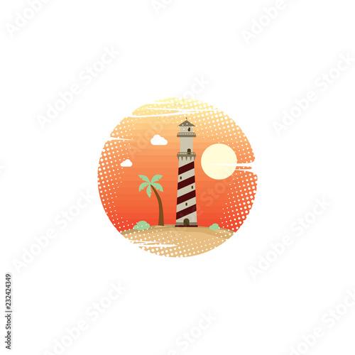 letnie wakacje plaża latarni morskiej znak symbol