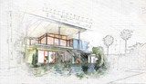 architectural sketch of a house - 232426976
