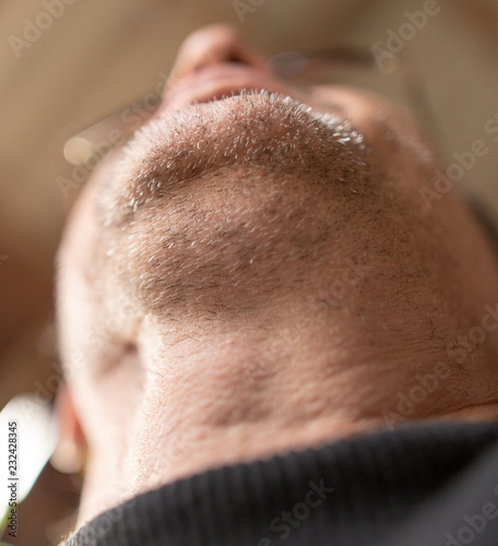 The bristle on the beard of a man. - 232428345