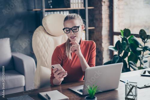 Leinwanddruck Bild Entrepreneur employment employer professional blond hair lady re