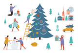 Winter scenery. Decorating christmas tree.Merry Christmas and Happy New Year's card  - 232438342
