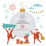 Santa Claus carry big Christmas tree and present sack. Greeting card. Merry Christmas and Happy New Year , flat vector illustration - 232439112