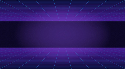Future retro line background of the 80s. Vector futuristic synth retro wave illustration in 1980s posters style