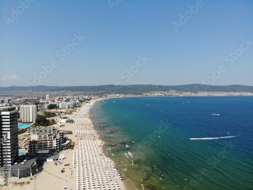 Foto Murales Bulgaria aerial photo of the beautiful coastal area of Sunny Beach near Nesebar