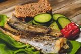 Keto bread, roasted hake, lettuce and cucumber - 232446588