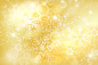 Abstract golden christmas background with shiny snowflakes
