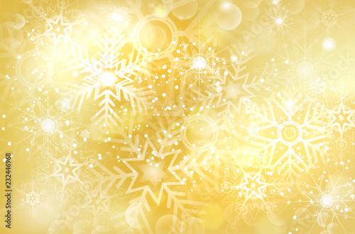 Abstrakcjonistyczny złoty bożego narodzenia tło z błyszczącymi płatkami śniegu