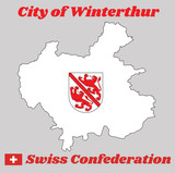 Map outline and Coat of arms of Winterthur, The city in the canton of Zurich in Switzerland with name text City of Winterthur and Swiss Confederation. - 232454509