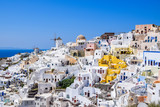 Skyline of Oia with traditional Cyclades architecture on Santorini Island, Greece - 232457908
