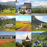 Slovakia Travel Collage: natural parks and mountain landscapes