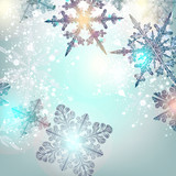 Christmas background with shining and snowflakes vector illustration - 232460392
