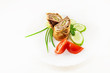 Meatloaf with fresh vegetable, tomato, onion and cucumber on white background - 232461123