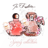 Fashion illustration with couple of perfume bottle and roses - 232461519