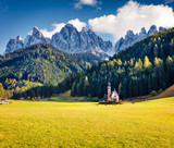 Magnificent view of Santa Maddalena village in front of the Geisler or Odle Dolomites Group. Colorful autumn sunset in Dolomite Alps, Italy, Europe. Traveling concept background. - 232464991