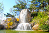 Waterfall and pool in the Panshan Mountain scenic spot, china