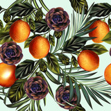 Fashion vector tropical palm leaves pattern with citrus - 232466160