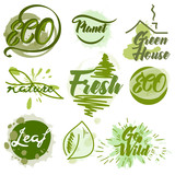 Set of eco green labels with ink spots - 232466399