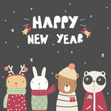 Cute new year greeting card with cartoon animals. Vector hand drawn illustration. - 232467901
