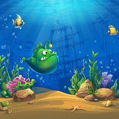 Cartoon funny green fish