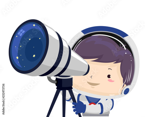 Kid Boy Space Telescope Illustration - 232473736
