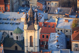 Lviv, city view, historical city center, Ukraine. Bell tower of the Armenian church. Lviv roofs - 232477166