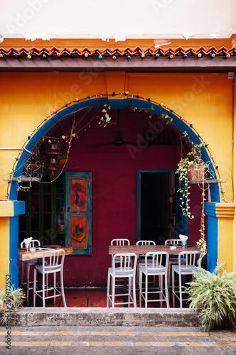 Colourful colonial building at Haji Lane, Kampong Glam - Singapore