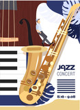 Template for the poster of a jazz festival with musical instruments. Illustration with saxophone and inscription elements and abstract volumetric forms. Colorful Musicians of the Jazz Festival