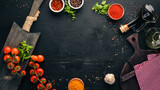 Food Background. Cooking. On the old background. Free copy space. Top view. - 232483527