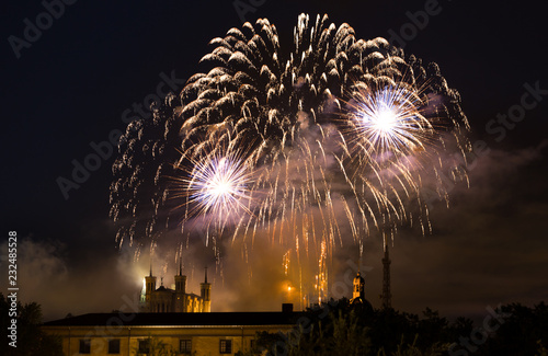 Foto Murales Fireworks at Cathedral Fourviere in Lyon on the french National Day July 14, Bastille day.