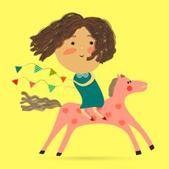 Small Girl riding a horse with holiday garland flags. Cute funny Girl riding a Horse with holiday garland flags. Vector cartoon.
