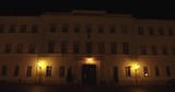 Dolly shot of the Museum of Military History in the Buda Castle at autumn night in Budapest. - 232495794