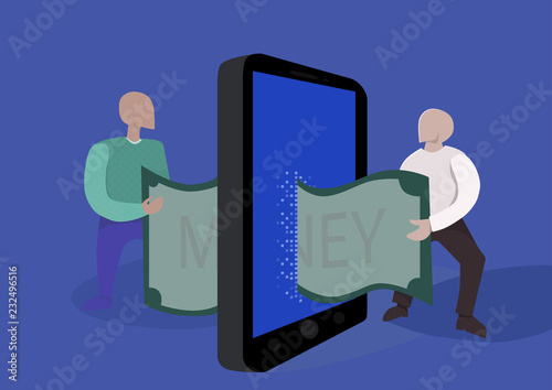 money transfer online  concept illustration  Two people pass each