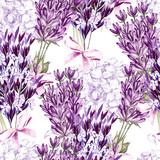 Watercolor pattern with Lavender. Hand painting. Watercolor. Seamless pattern for fabric, paper and other printing and web projects.  - 232500506