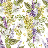 Beautiful watercolor pattern with grapes and flowers of lavender, lily.  - 232500578