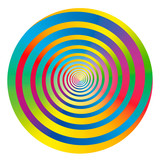 Rainbow colored gradient spiral and circle. Isolated vector illustration on white background. - 232500974