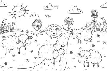 coloring book sunny meadow, sheeps design for kids