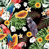 Beautiful watercolor tropical pattern with leaves, fruits and parrots.  - 232501714