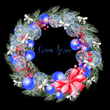 Watercolor Christmas wreath with toys, bow, berries and pine.  - 232501937