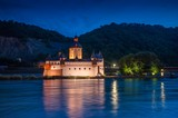 GERMANY, RHINE RIVER, Pfalzgrafenstein medieval toll castle on the island Falkenau in the Rhine river near Kaub at night - 232502715
