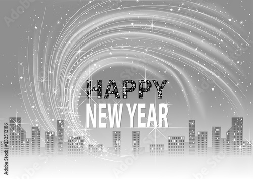 grayscale happy new year background with city skyline and lightning glittering effects on sky abstract