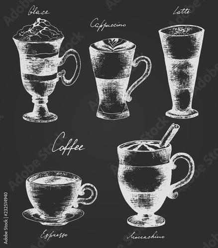 Poster Coffee black set. Vector illustration