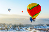 hot air balloons in the sky in winter - 232516726