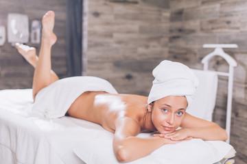 slim sexy girl in the spa center. full length photo. skin care concept © alfa27